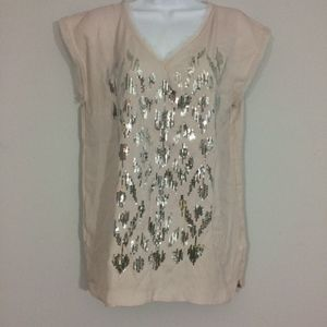 DKNY Jeans Womens S Sequined Sleeveless V-neck Top